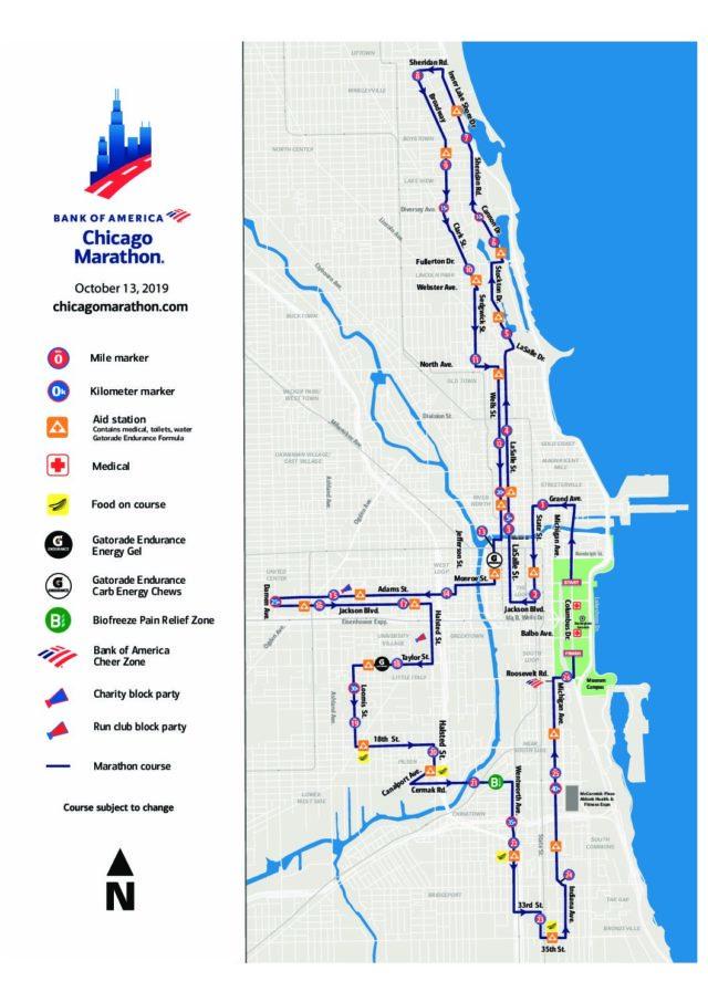 Parcours du marathon de Chicago.