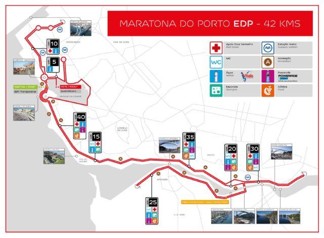Parcours du marathon de Porto.