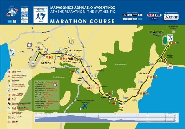 Parcours du marathon d'Athènes 2020.