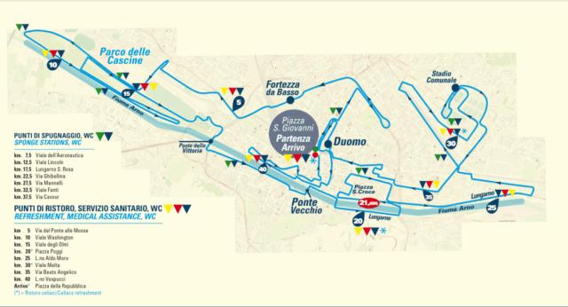 Parcours du marathon de Florence, Italie.