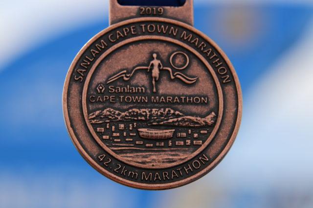 La médaille du marathon Sanlam Capte Town.