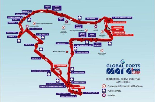 Le parcours du marathon de Cuba/La Havane