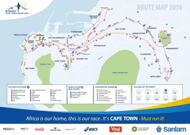 Parcours du marathon du Sanlam Cape Town.